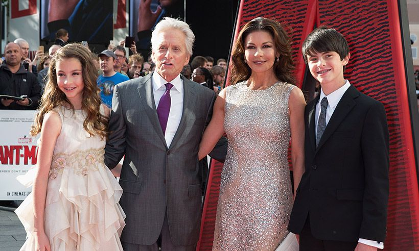 Catherine Zeta-Jones, Michael Douglas pose for pictures with Carys and Dylan.