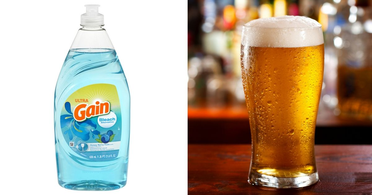 Side by side of dish soap and beer