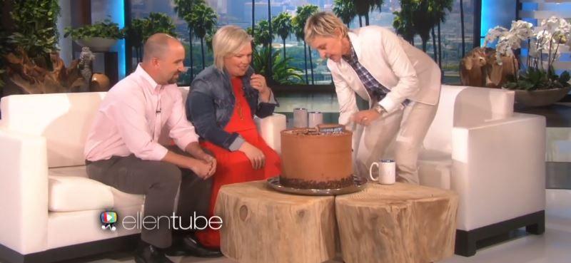 Ellen cutting a cake