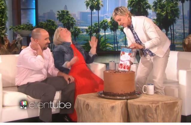 Ellen revealing the tickets