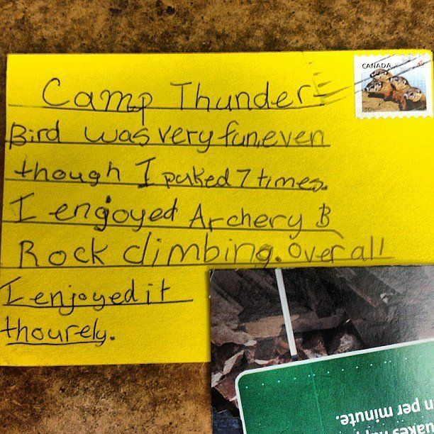 camp note about puking