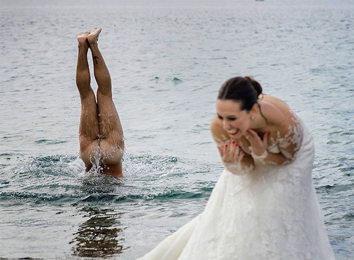 A man skinny dipping in front of the bride