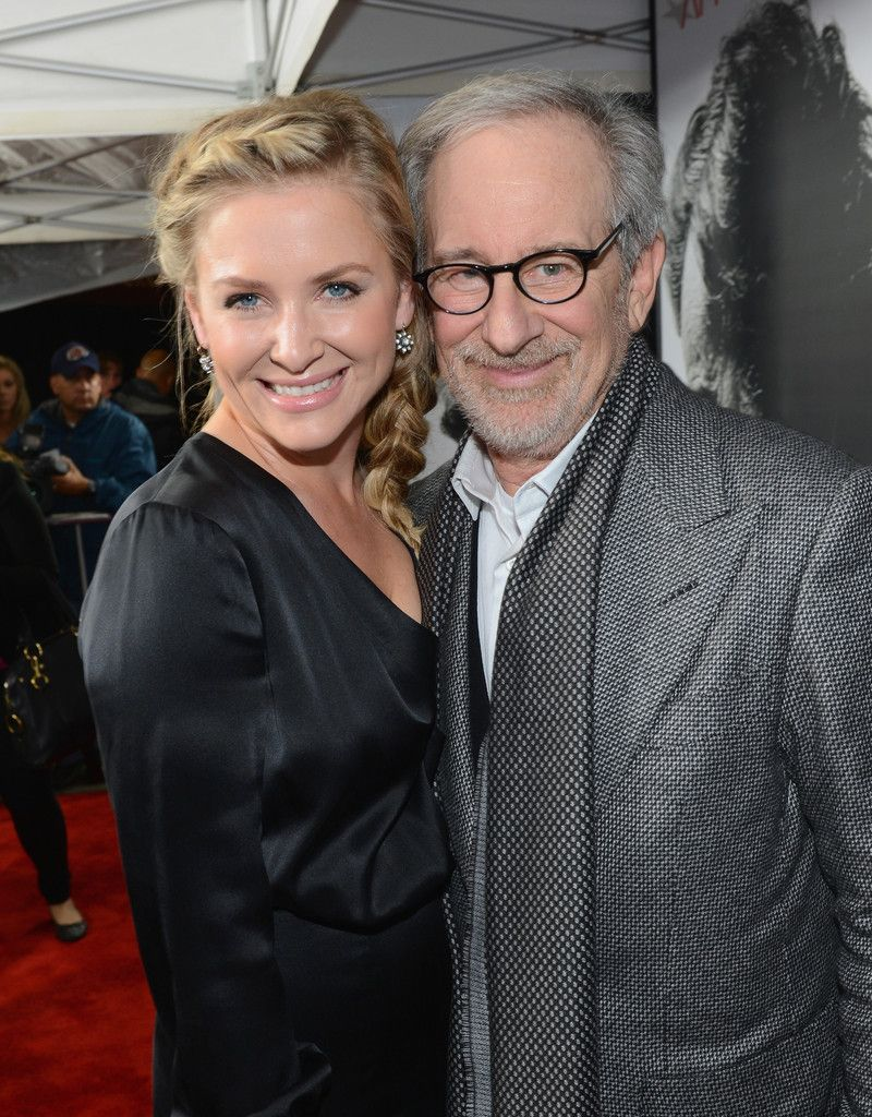 Steven Spielberg and Jessica Capshaw on the red carpet