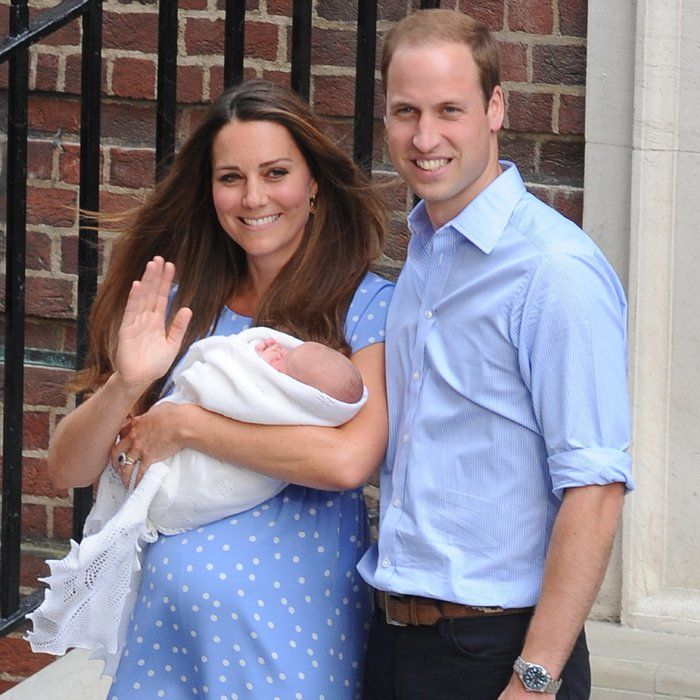 Will, Kate and Prince George as a newborn