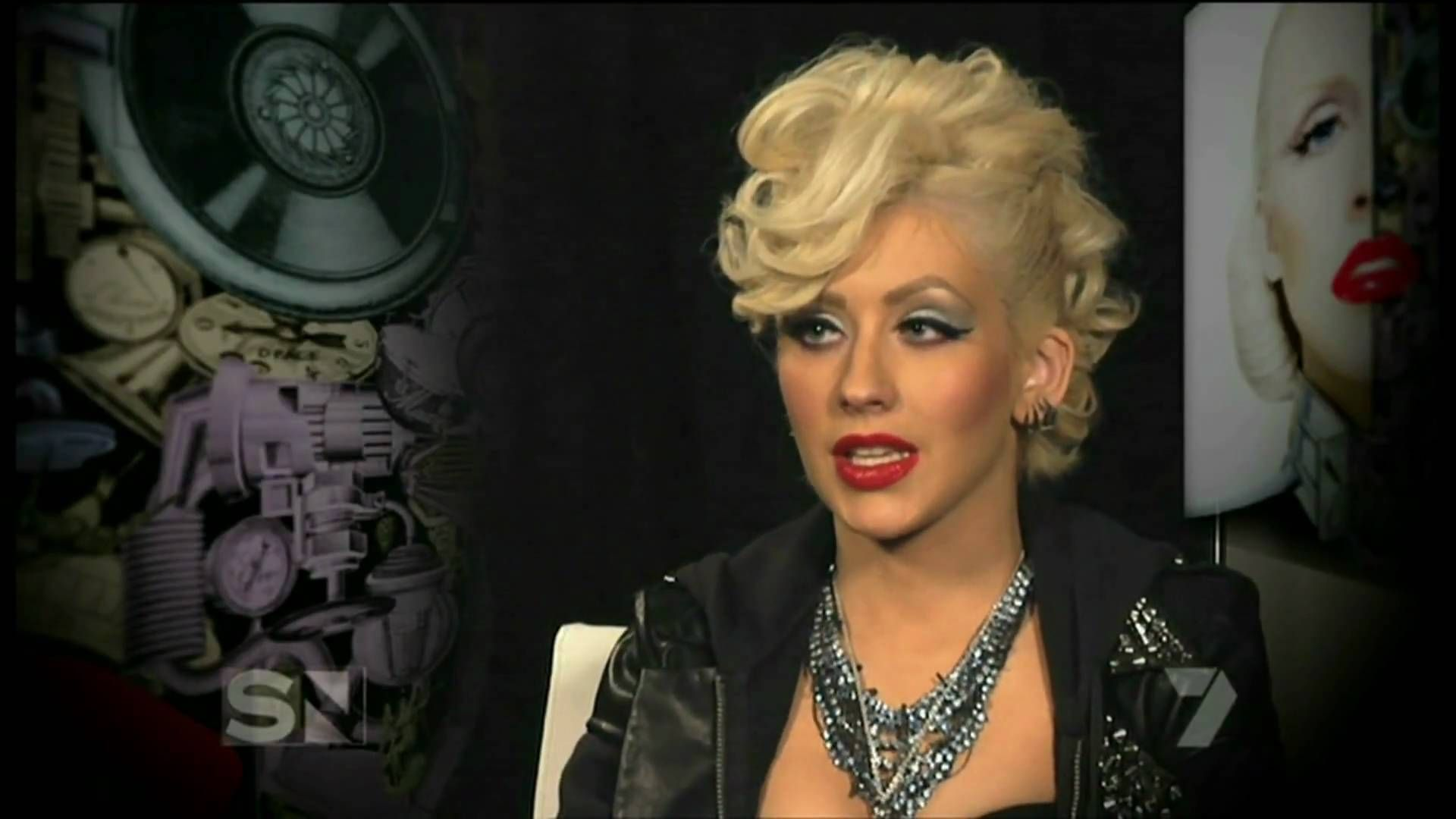 Christina Aguilera giving an interview