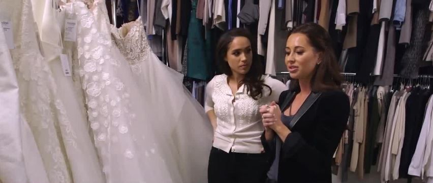 Meghan and Jessica look for wedding dresses