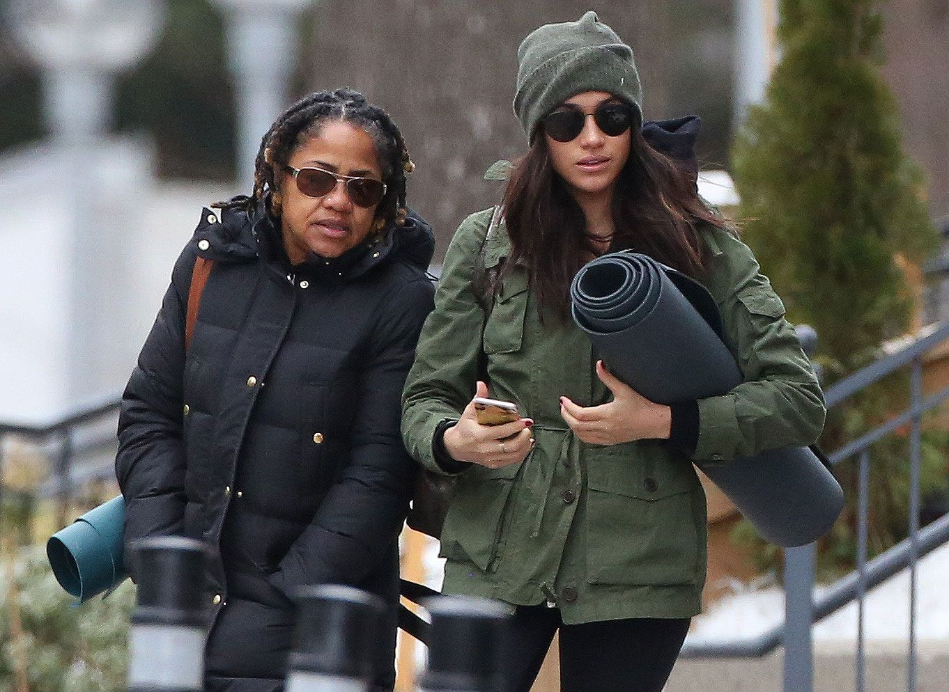 Meghan and her mother going to a yoga class