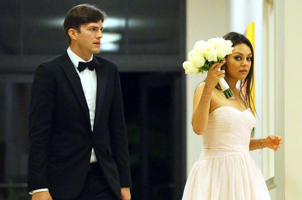 Mila and Ashton at her brother's wedding