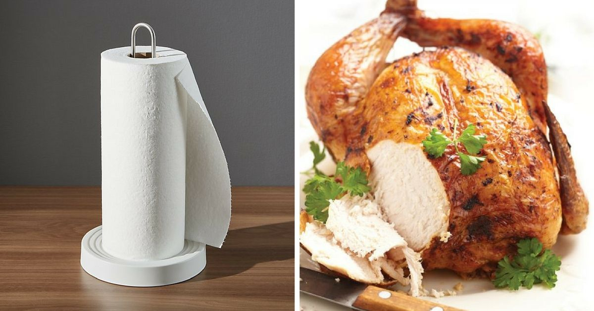 Side by side of paper towels and cooked chicken