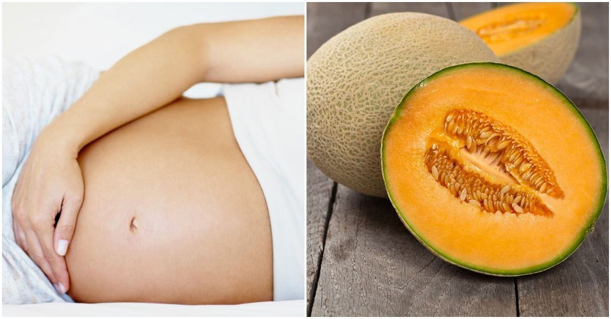 24 week pregnant stomach and a cantaloupe