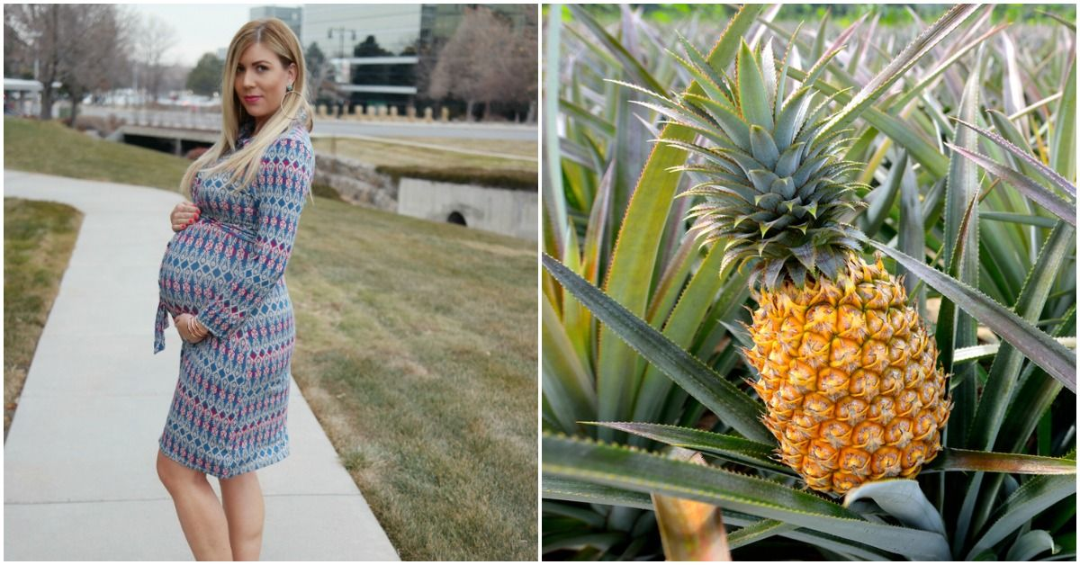 32 weeks pregnant belly compared to a pineapple