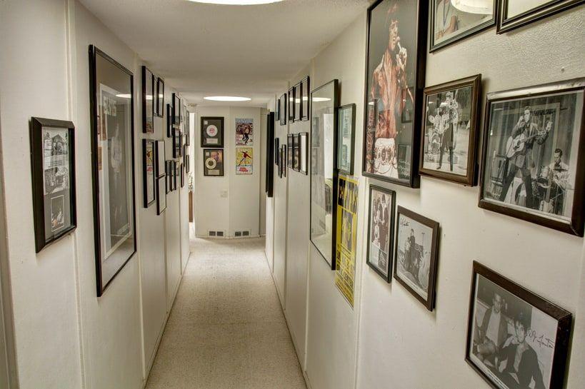 Elvis memorabilia line the walls of the hallway