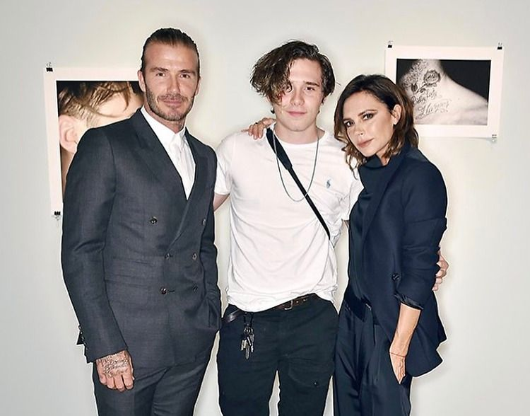 David, Brooklyn and Victoria Beckham