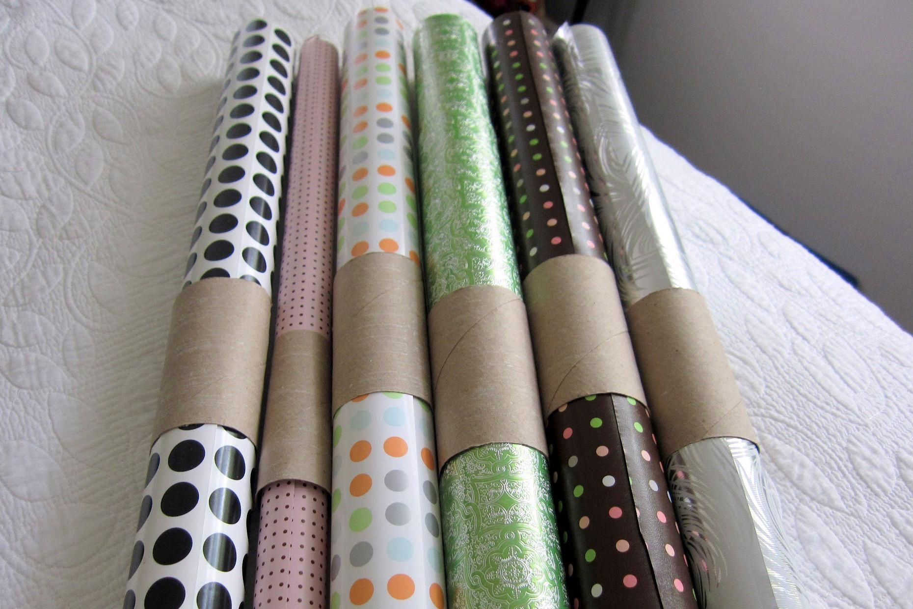 Wrapping paper in toilet paper rolls