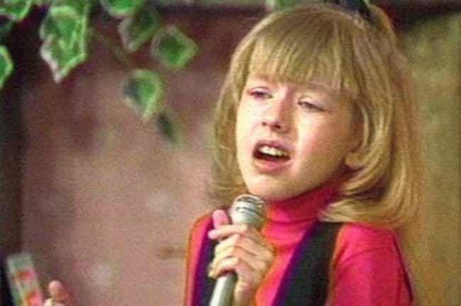 A young Christina Aguilera singing