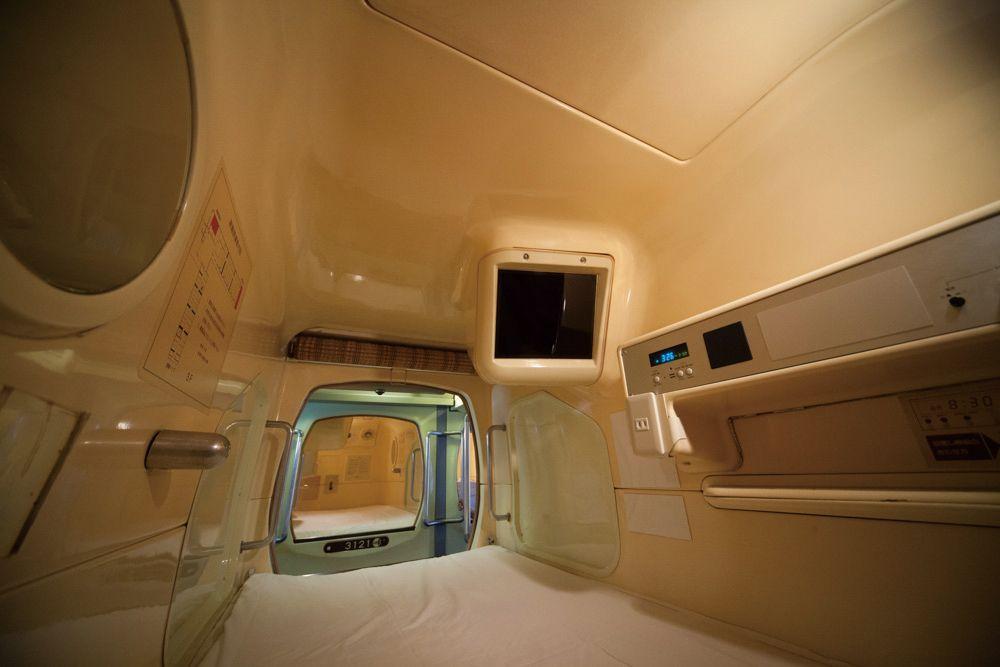 """Interior of Osaka Capsule Inn """"pod"""""""