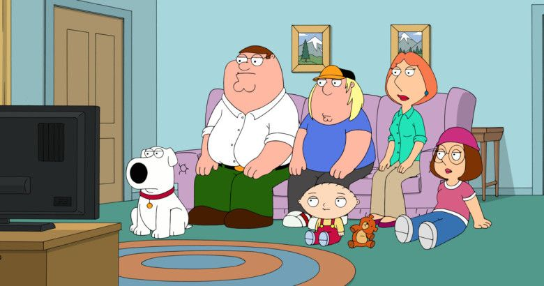 Family Guy characters watching TV