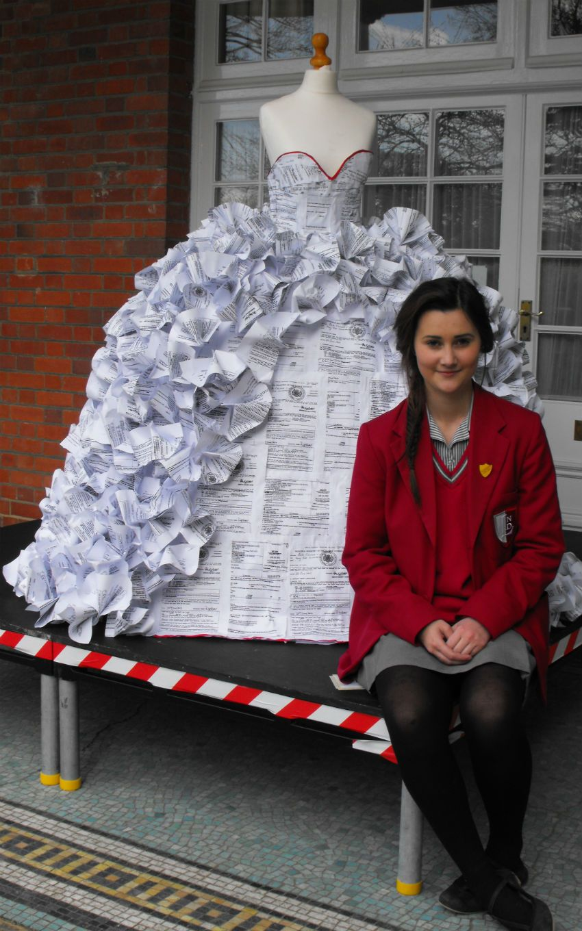 Wedding dress made up of divorce papers