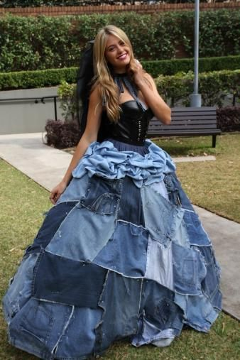 Jean and leather wedding dress