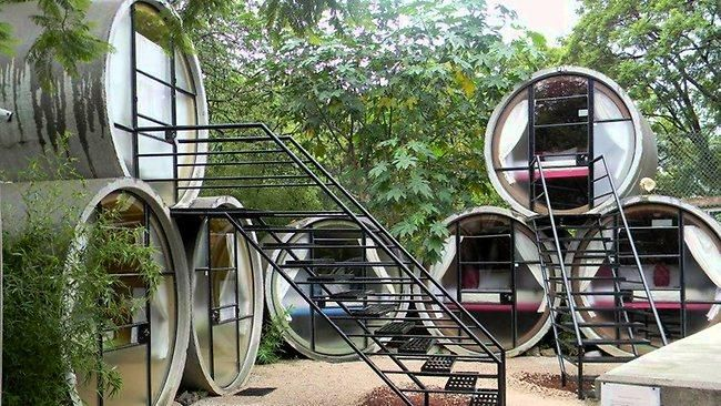 A hotel made out of drain pipes