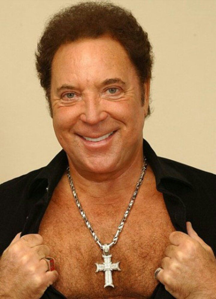 Tom Jones showing off his chest hair