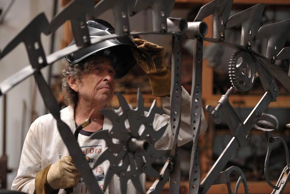 Bob Dylan in his workshop