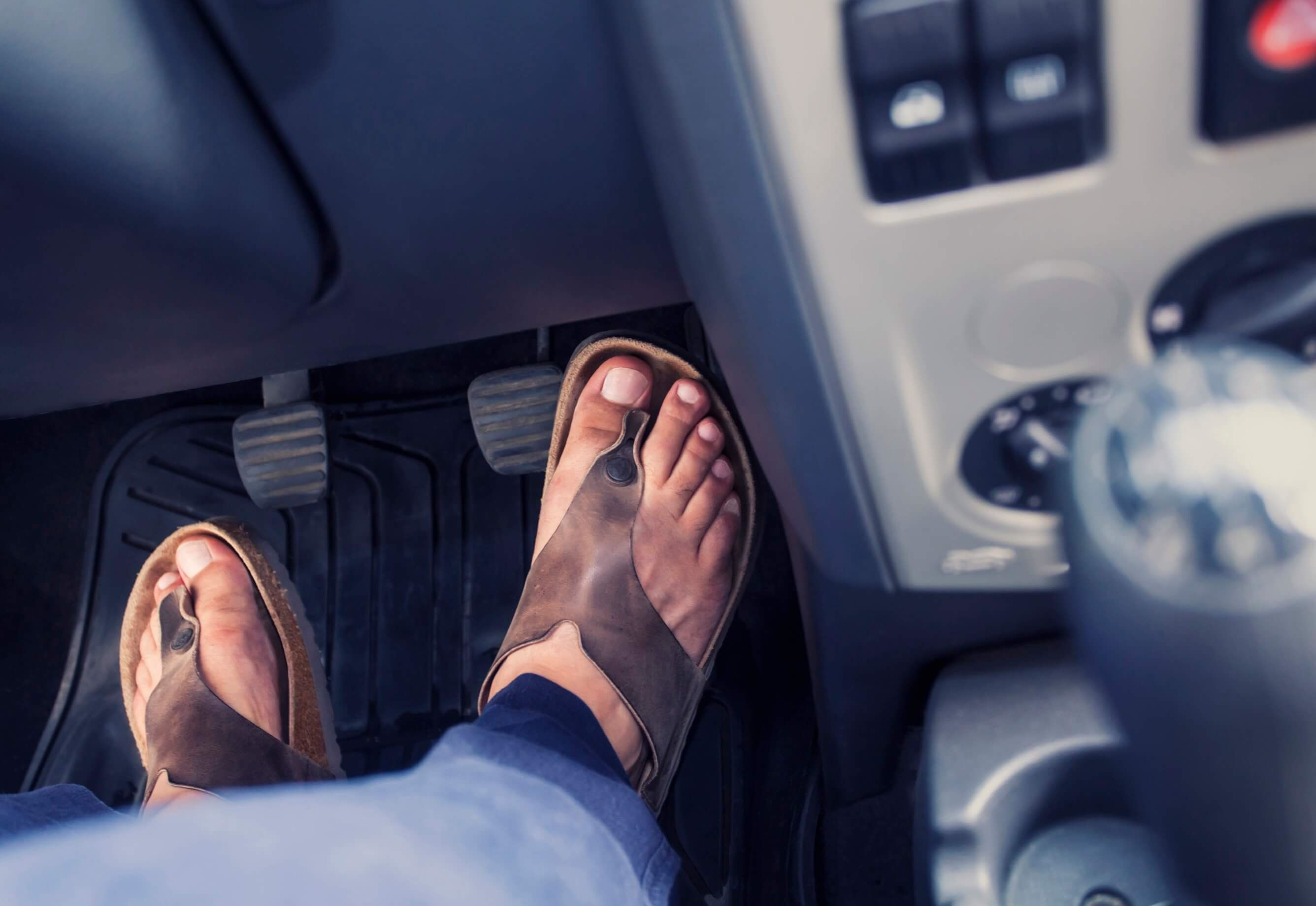 Driving while wearing flip flops