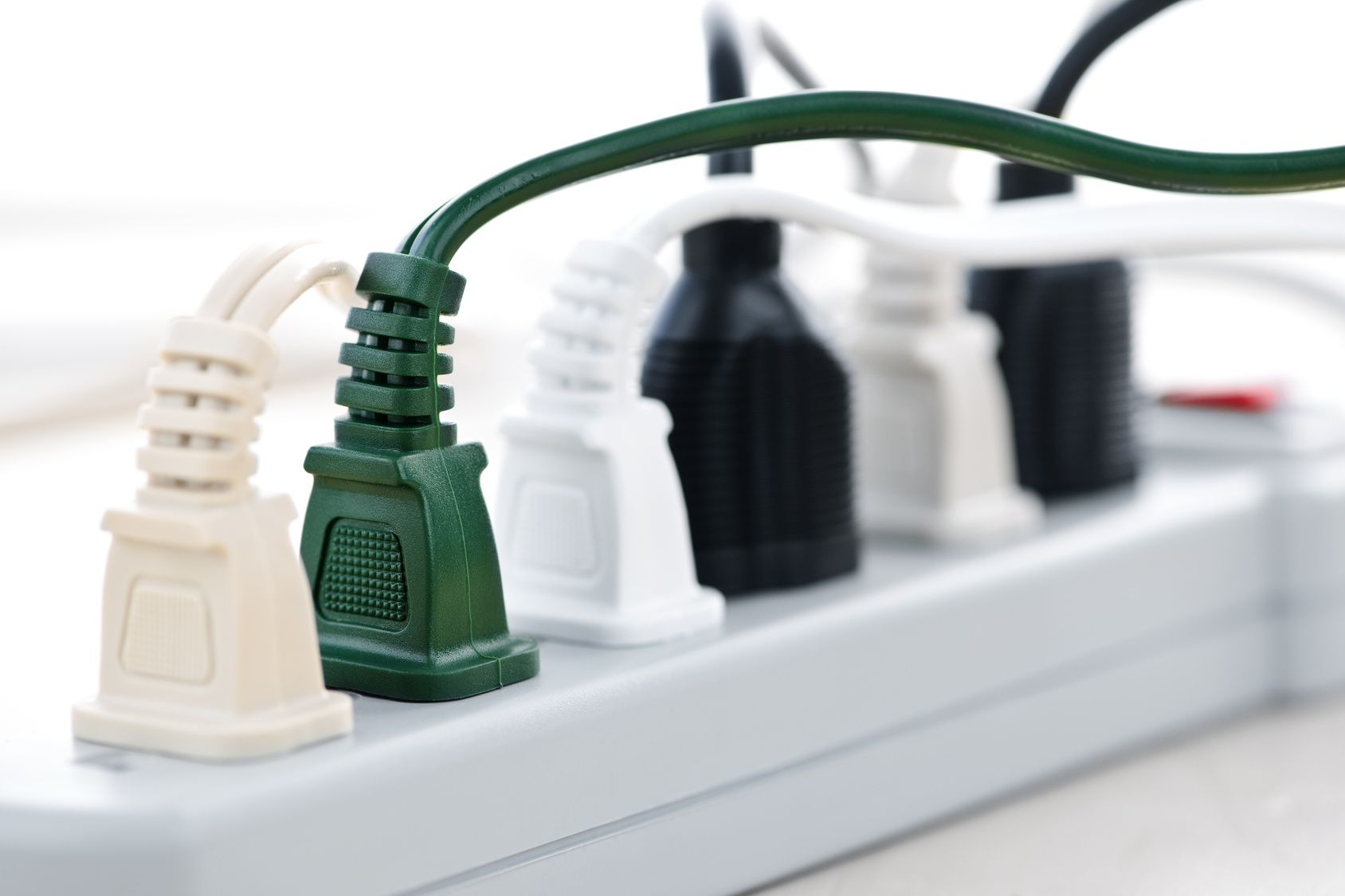 A power strip with plugs in