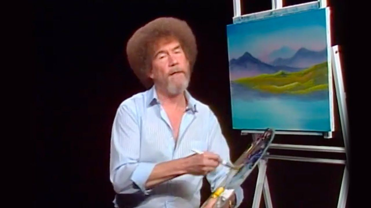 Bob Ross painting on air