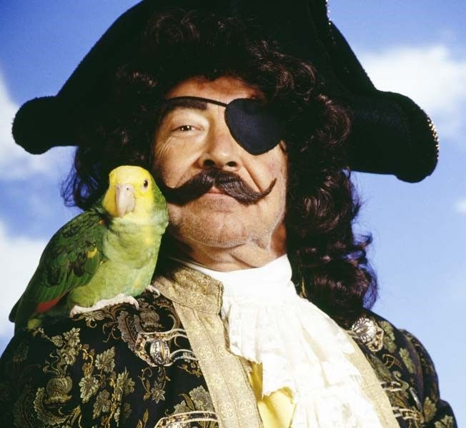 A pirate with a parrot and eye patch