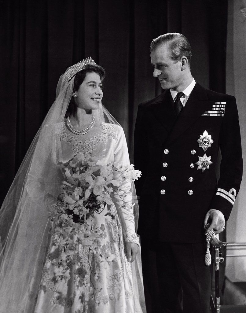 Queen Elizabeth II and Prince Phillip on their wedding day