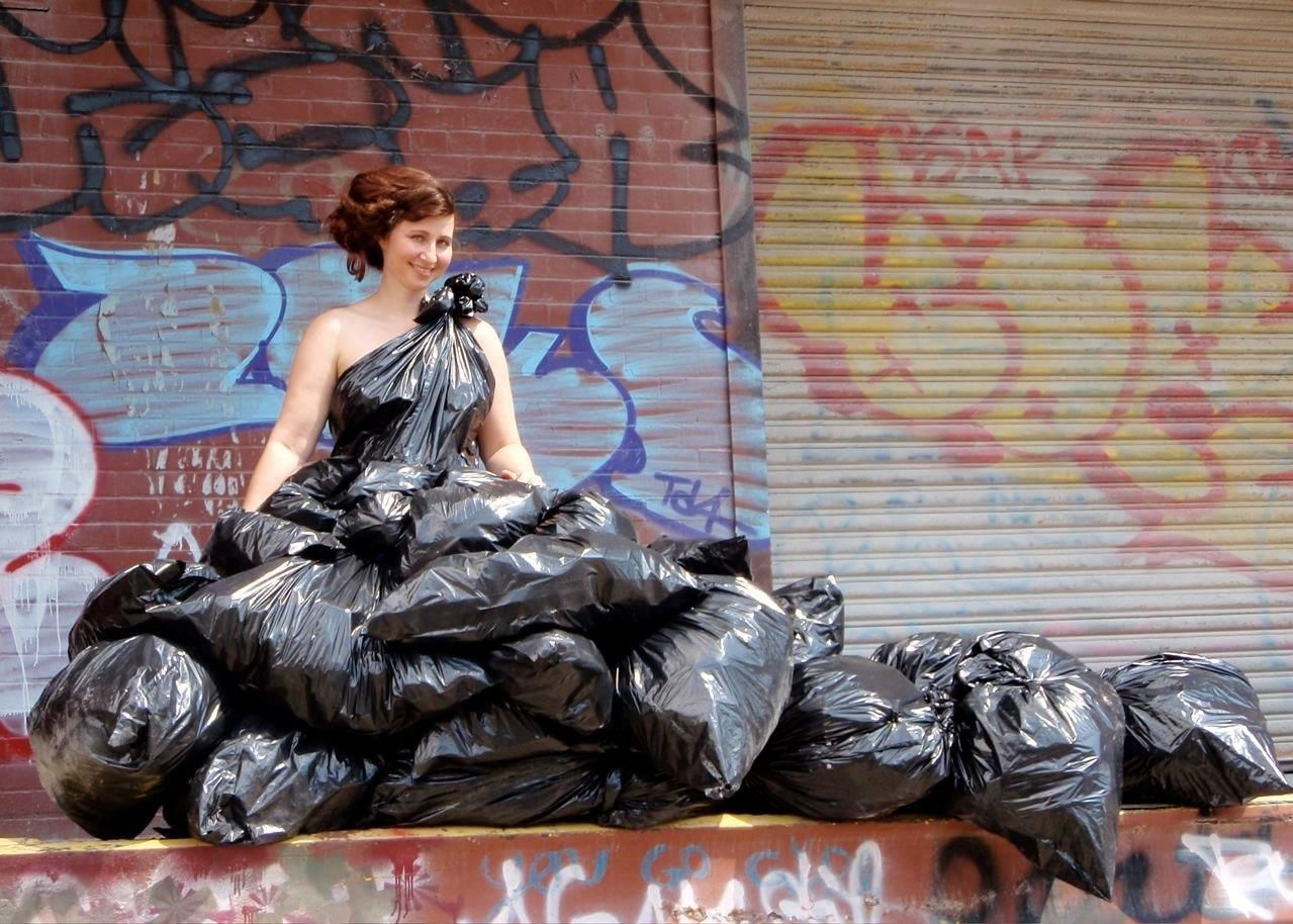 Garbage bag wedding dress