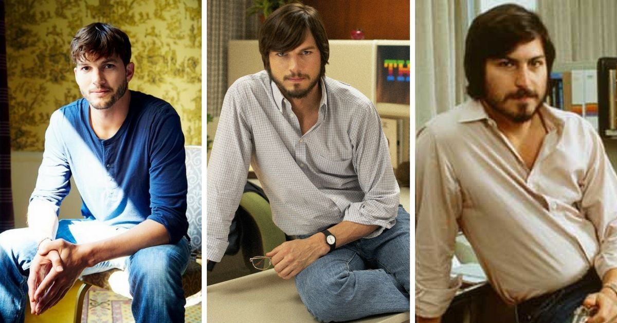 Ashton Kutcher appearing as Steve Jobs