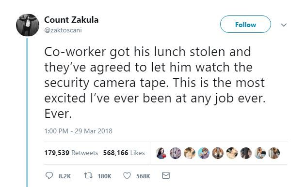 A tweet about a stolen lunch