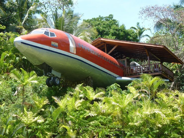 A hotel with a plane attached
