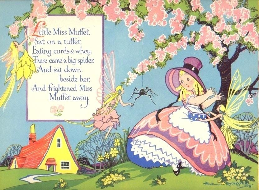 Little Miss Muffet running away