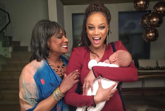 Tyra Banks with her mother and son
