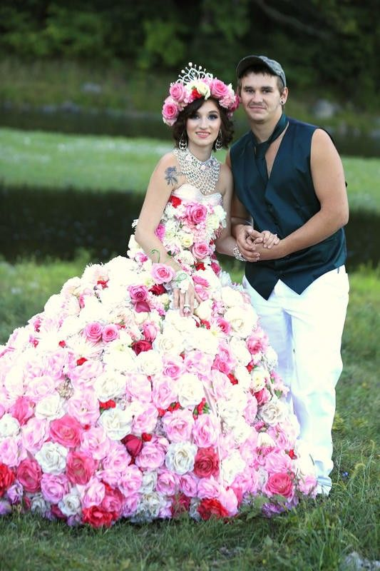 Wedding dress made out of real flowers