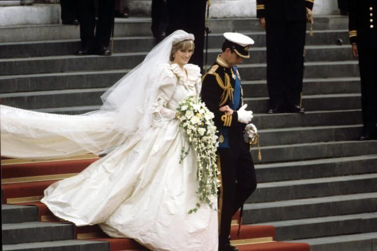 Diana wearing a wrinkled wedding dress