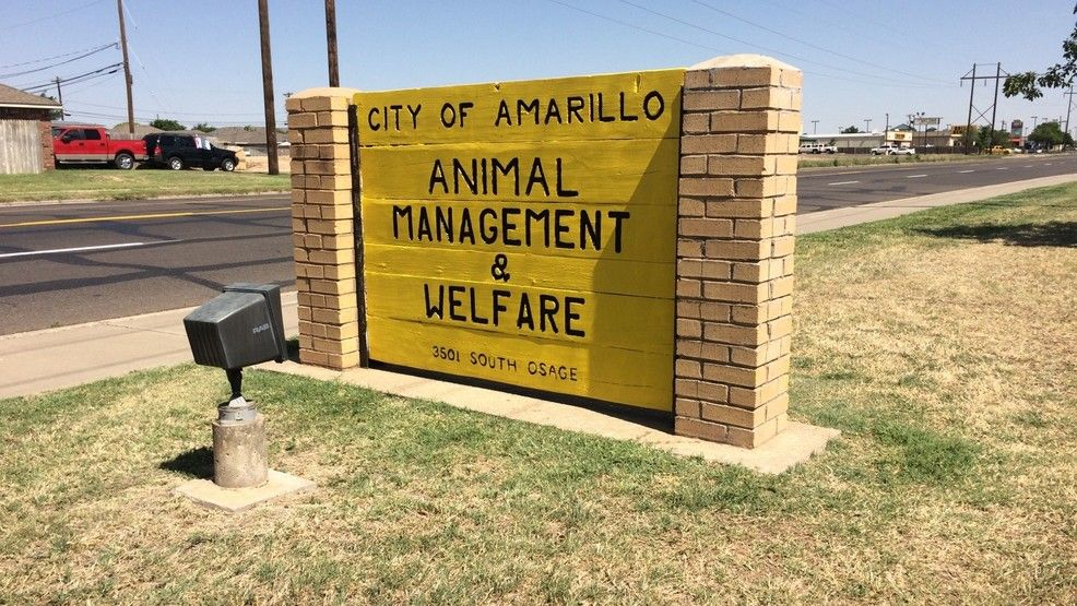 A sign of the  Amarillo Animal Management and Welfare (AAMW) facility