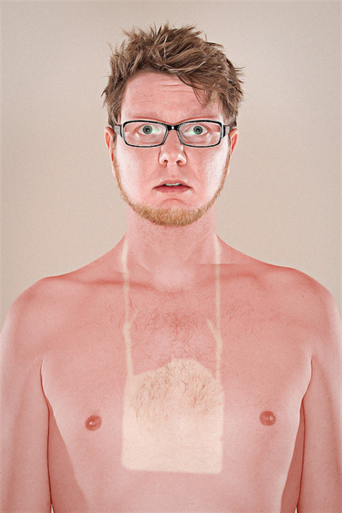 Sun tan line of a neck tag