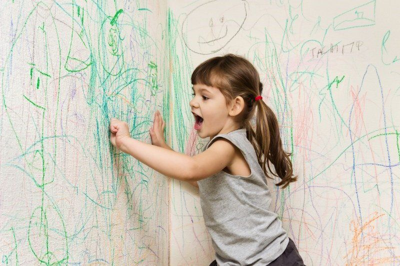 crayon on wall