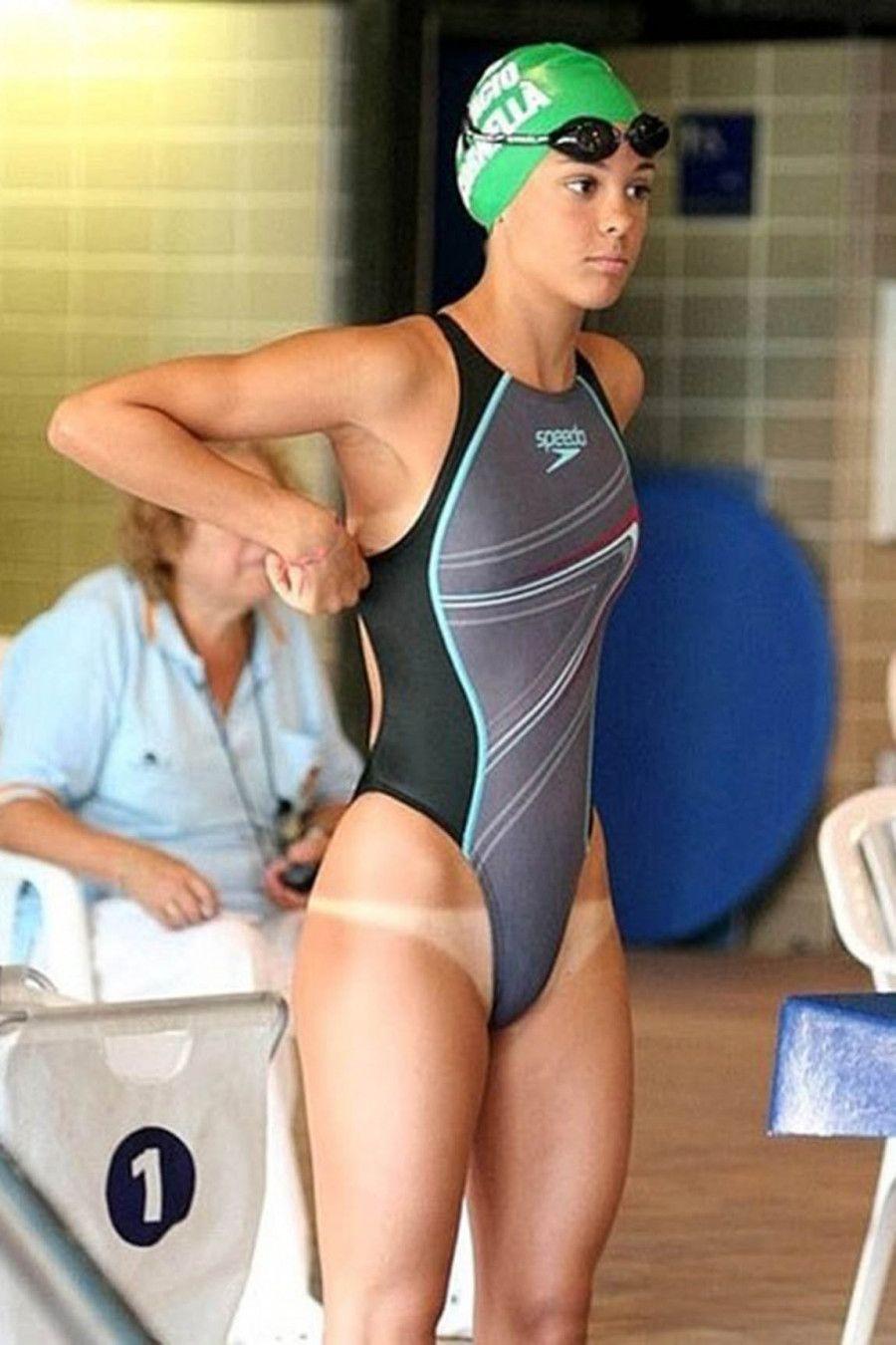 A bikini bottom tan line