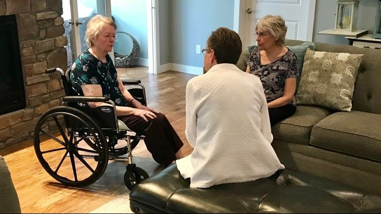 Denice Juneski and Linda Jourdeans visit Marianne Mayer, Jourdean's biological mother
