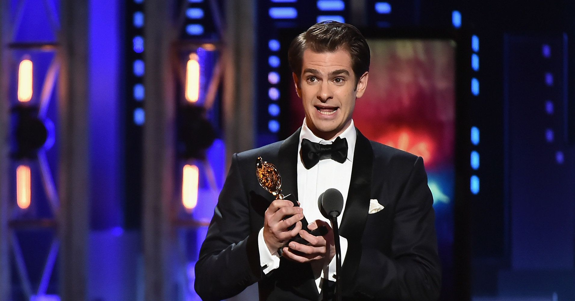 Andrew Garfield accepts his award for best actor in a play for Angels in America