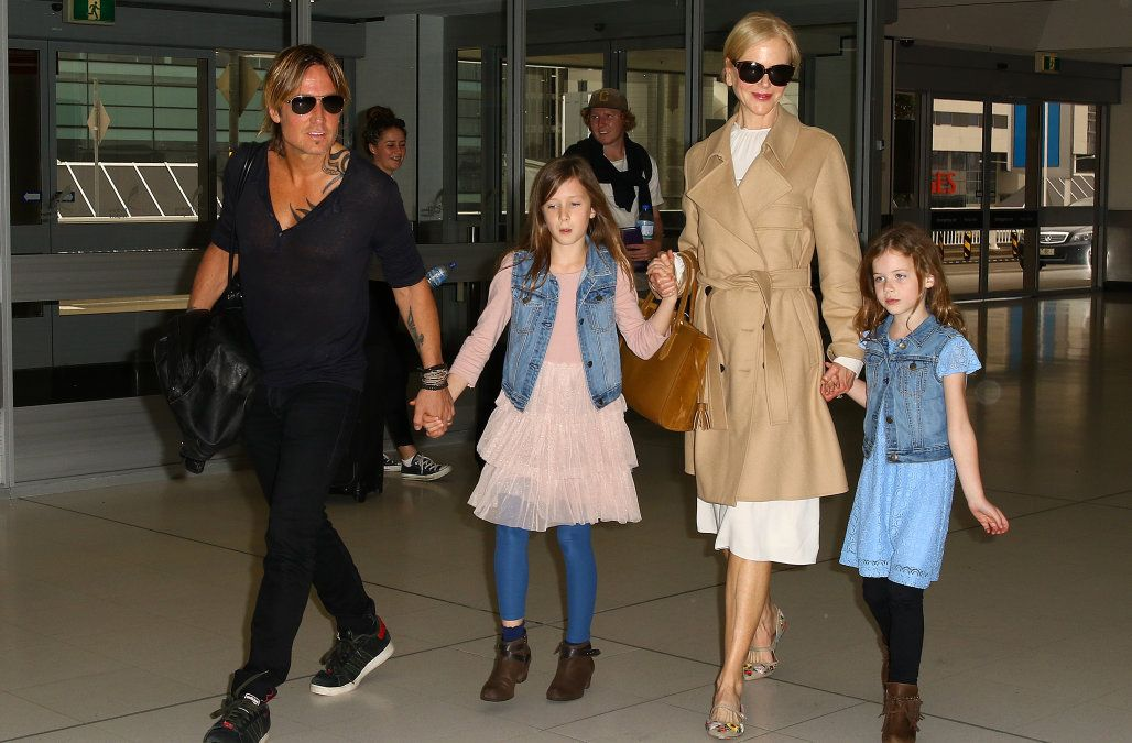 Nicole Kidman, Keith Urban, and their children at the airport
