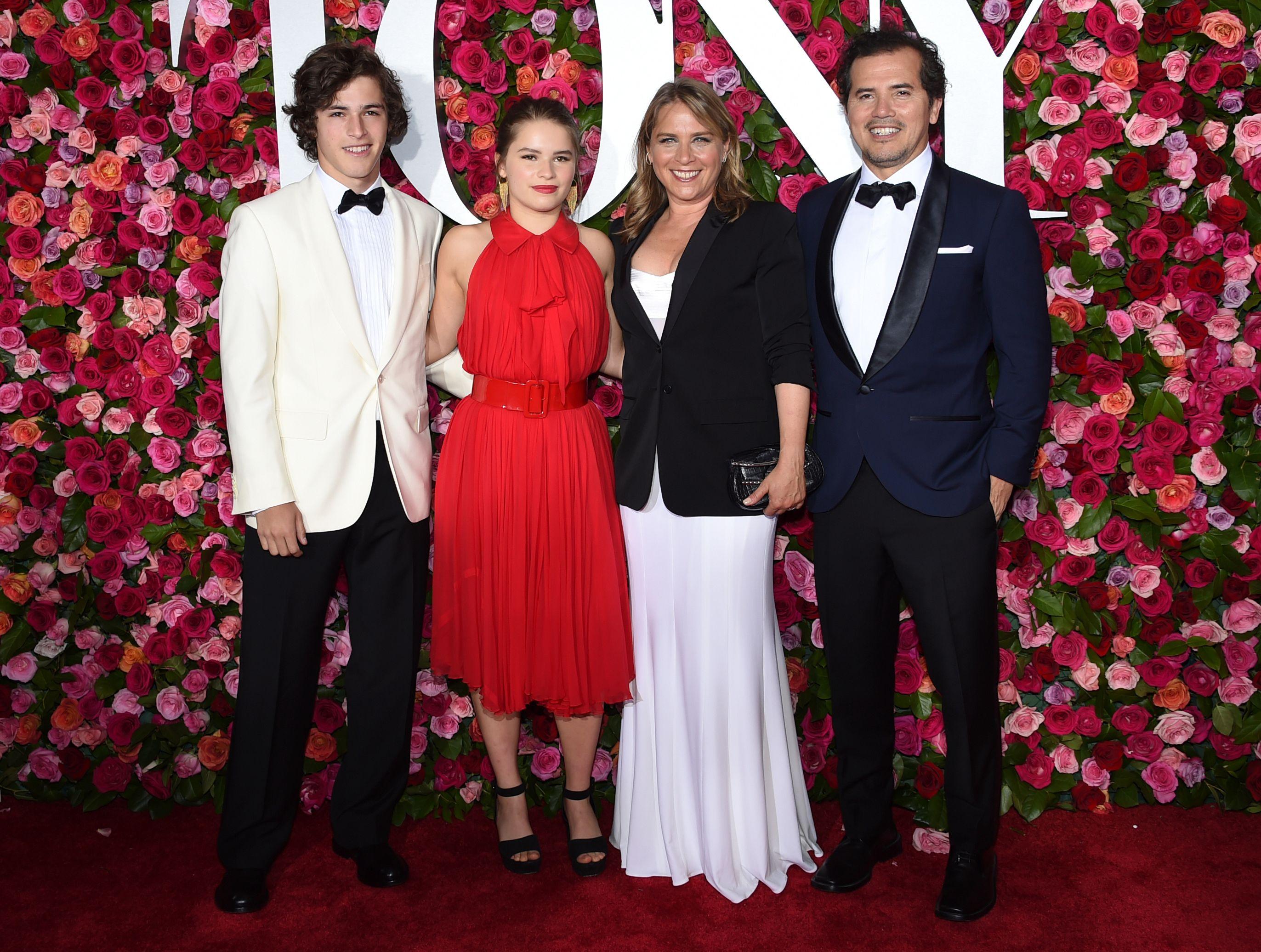 Lucas Leguizamo, from left, Allegra Leguizamo, Justine Maurer and John Leguizamo arrive at the 72nd annual Tony Awards