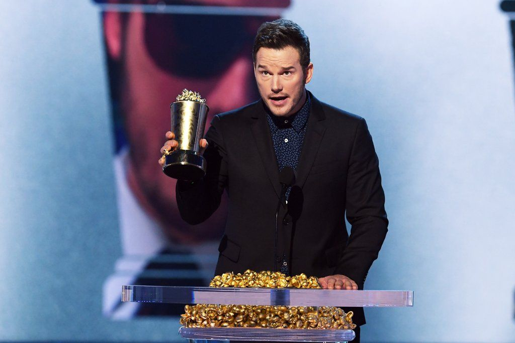 Chris Pratt accepting his award