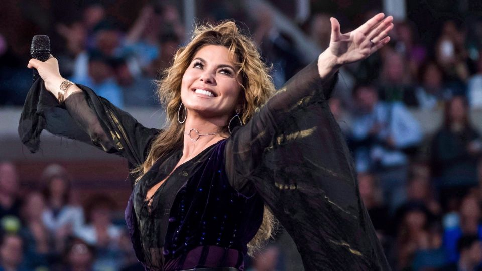 Shania Twain performing at a concert