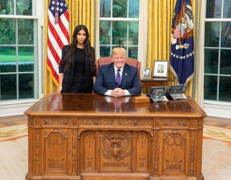 Donald Trump and Kim Kardashian in the Oval Office